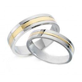 19b5baaca8a6 Alianza de boda bicolor para hombre con oro amarillo y oro blanco de 5 mm  de ancho. Una alianza de boda diferente y original de diseño PENHALTA.