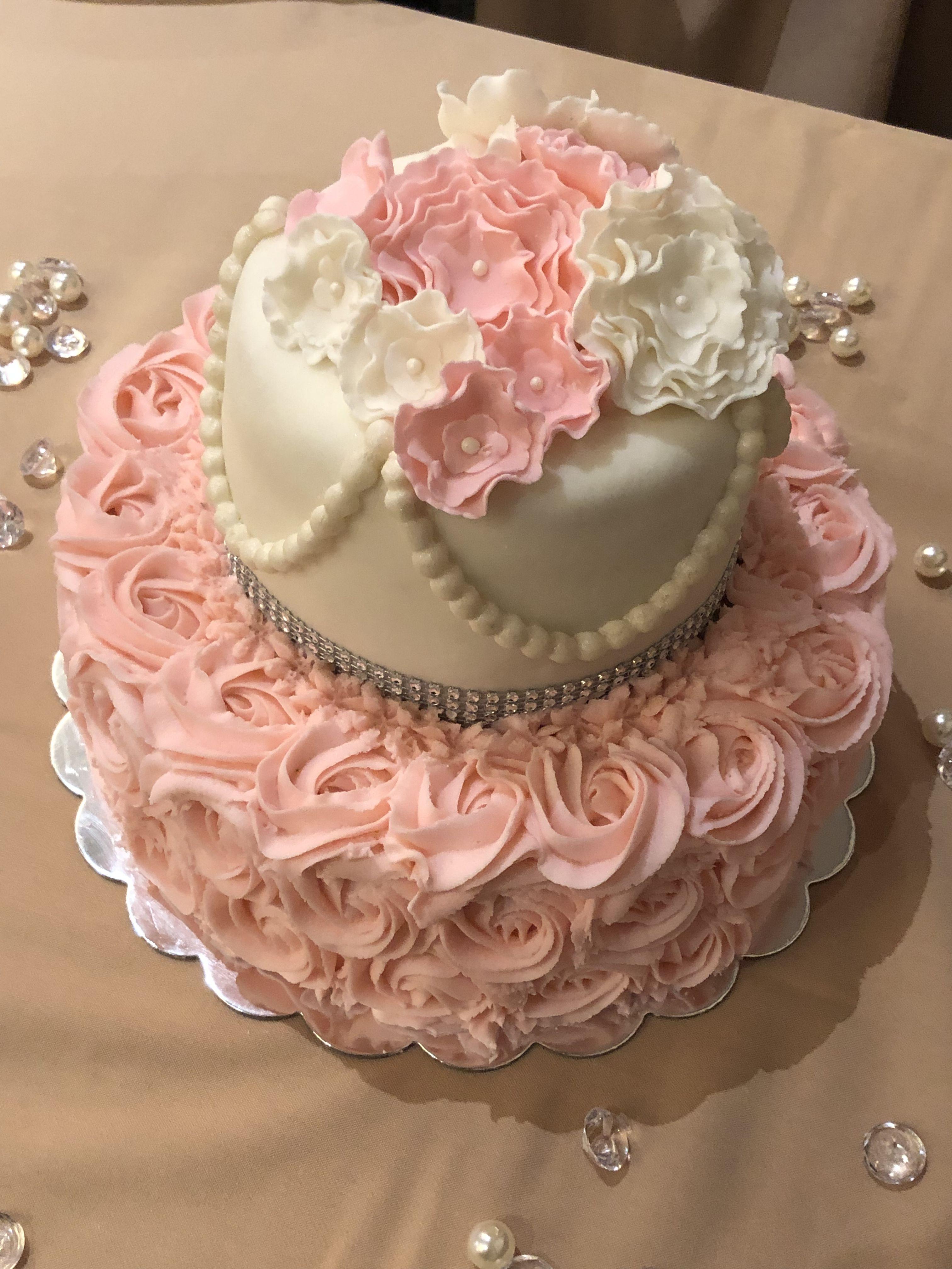 Diamonds and pearls baby shower cake