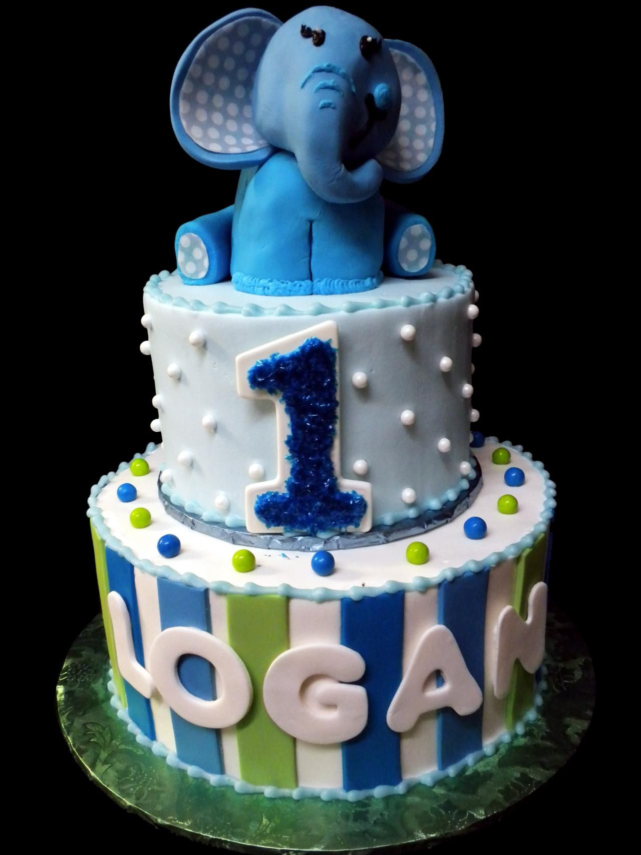 Elephant 1st Birthday Cake Blue And White Ercream Iced 2 Round Tiers Decorated With