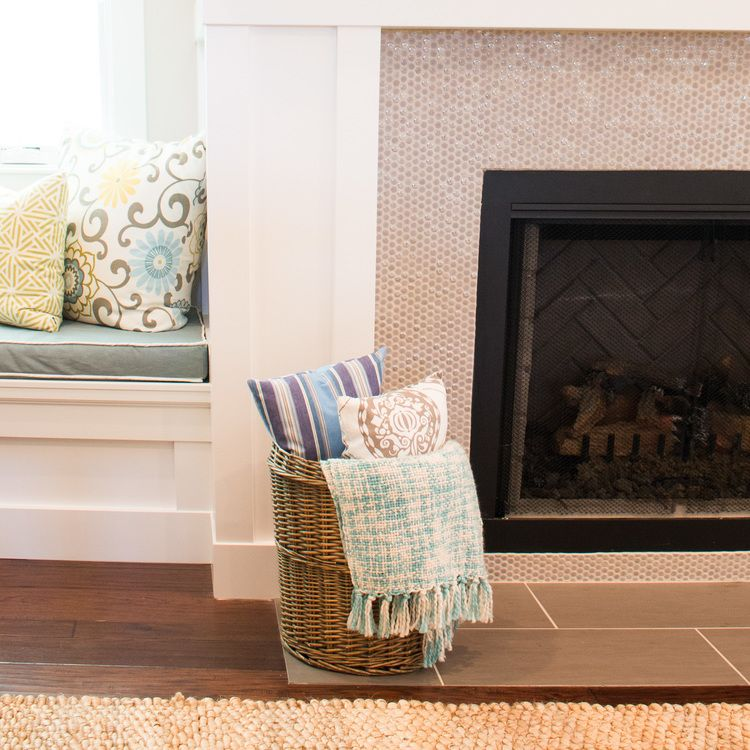 penny tile fireplace surround