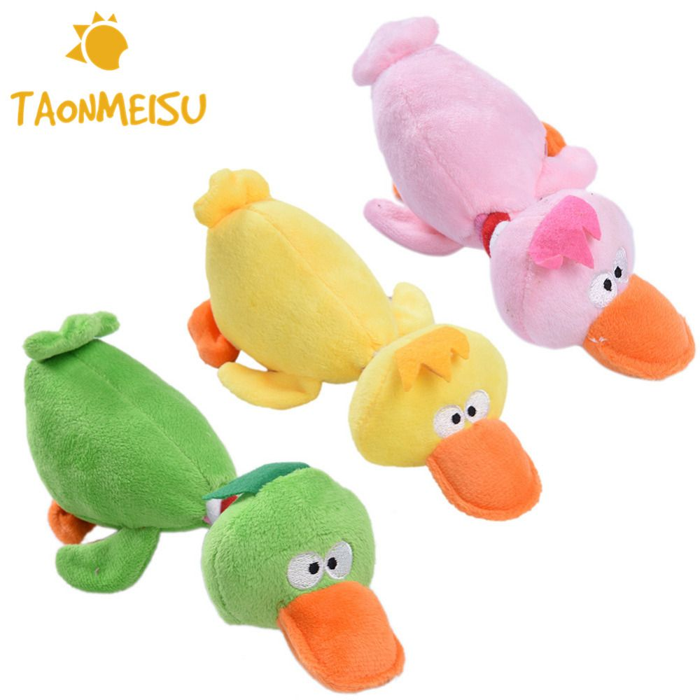 Pet Dog Puppy Sqeauk Toys Plush Squeaking Cute Duck Pet Toy For