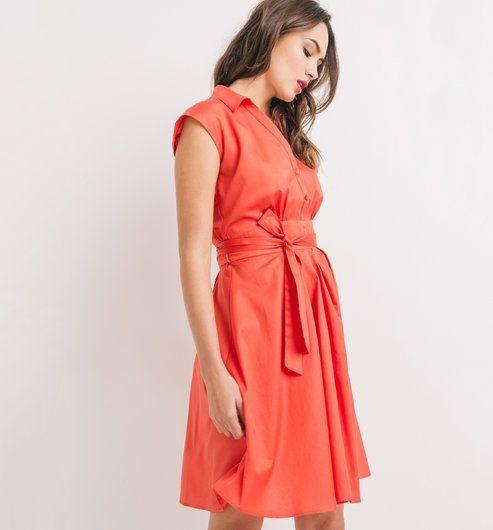 Vestido camisero naranja - Promod