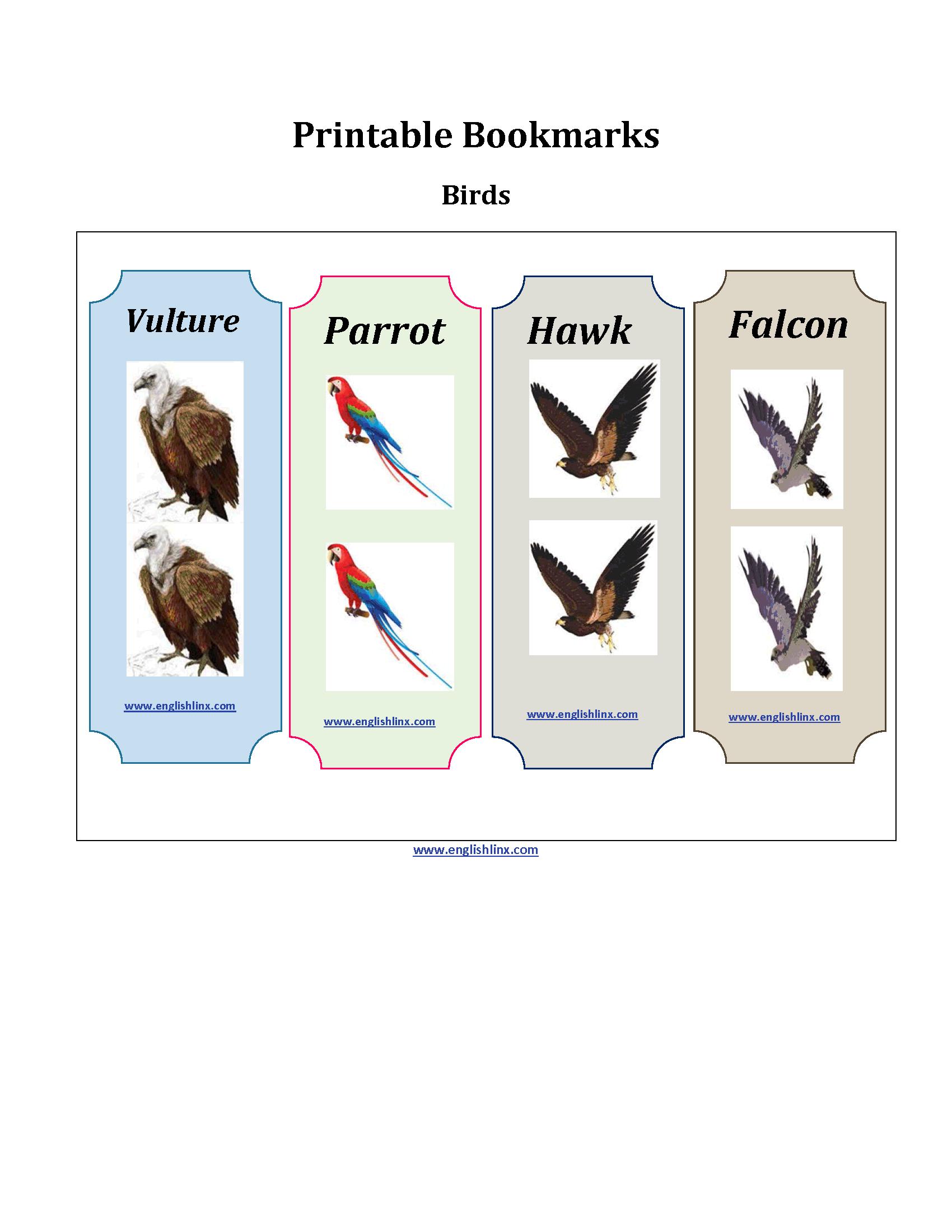 Birds Printable Bookmarks Worksheets