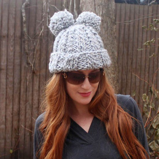 Beginner knitting pattern for a cute, double pom pom hat. Makes a ...
