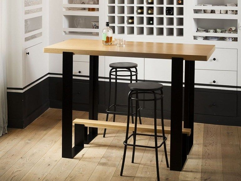 Mesa alta de madera mayet bar alex de rouvray design for Mesa alta madera bar
