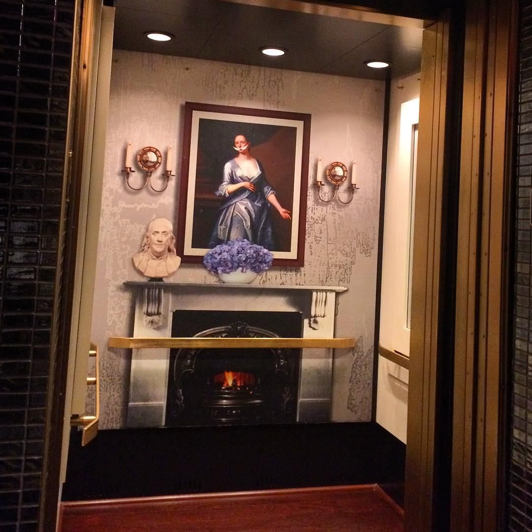 Elevator decor can be cozy with some special wallpaper for Kimpton hotel decor