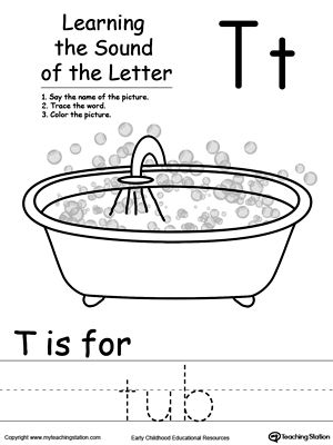 Learning Beginning Letter Sound: T: Learn the sound of the letter T by saying the name of the picture and then tracing the word. This printable worksheet is perfect for children to associate the alphabet letters with sounds.