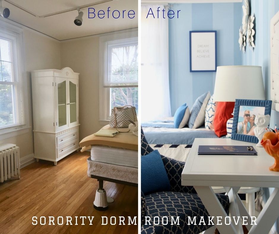 Before and After Sorority Dorm room makeover. How To Decorate a Beautiful  Sorority Room with Raymour u0026 Flanigan - memehill.com - Home of Amie  Freling-Brown