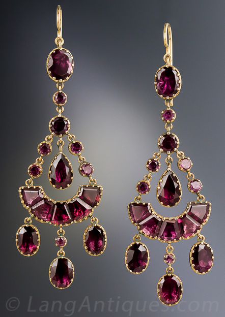 3c997dd9f6ae0 Antique Chandelier Garnet Earrings, Simply stunning, early-Victorian ...