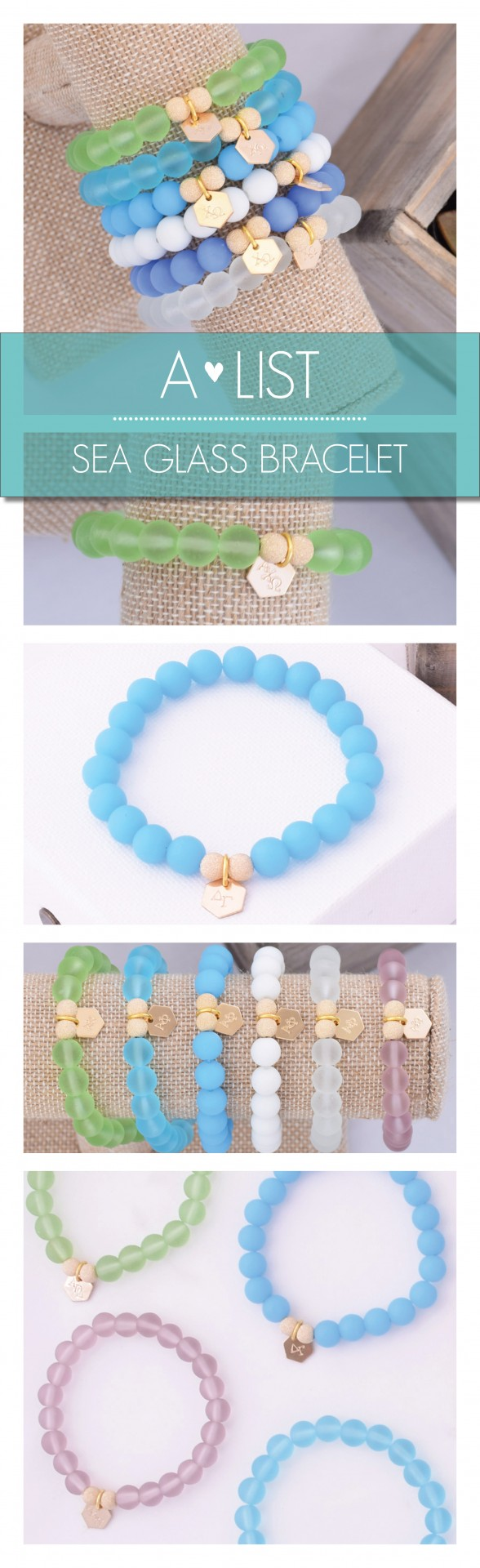 Seas the day with these cute Sorority Sea Glass Bracelets. Available in an assortment of colors from www.alistgreek.com. Makes a great initiation, bid day or big/little gift! #sorority