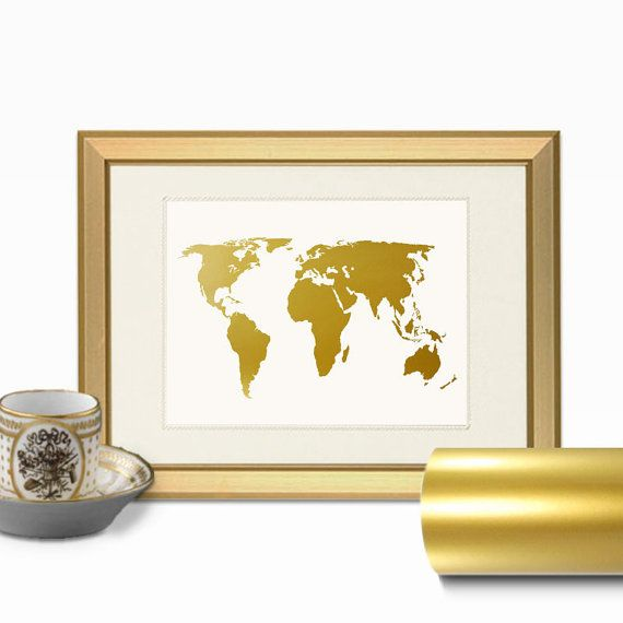 World Map Faux Gold Foil Wall Art Print - Layered REAL Gold Leaf ...