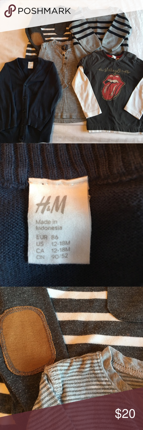 H&M boys top bundle All H&M 12-18m tops. One knitted sweater in grey and black stripe. Navy cotton cardigan. All long sleeve. H&M Shirts & Tops Tees - Long Sleeve