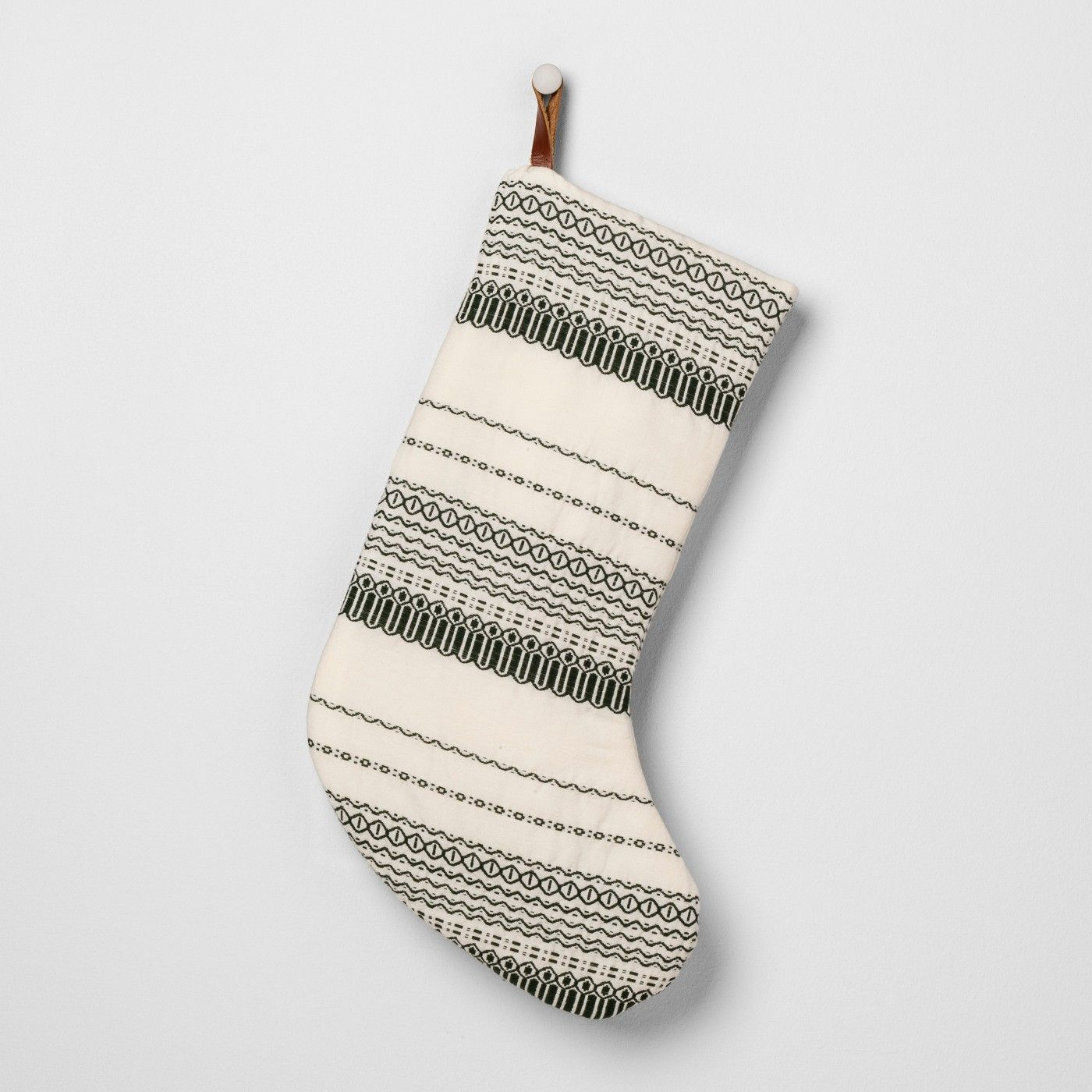 Stocking Green/Sour Cream Stripe Hearth & Hand™ with