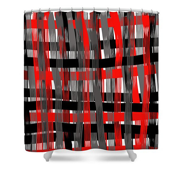 Plaid Shower CurtainRed White Black Gray PlaidBathroom CurtainBathroom DecorAccessoriesPlaid Home DecorDesigner Red Curtain