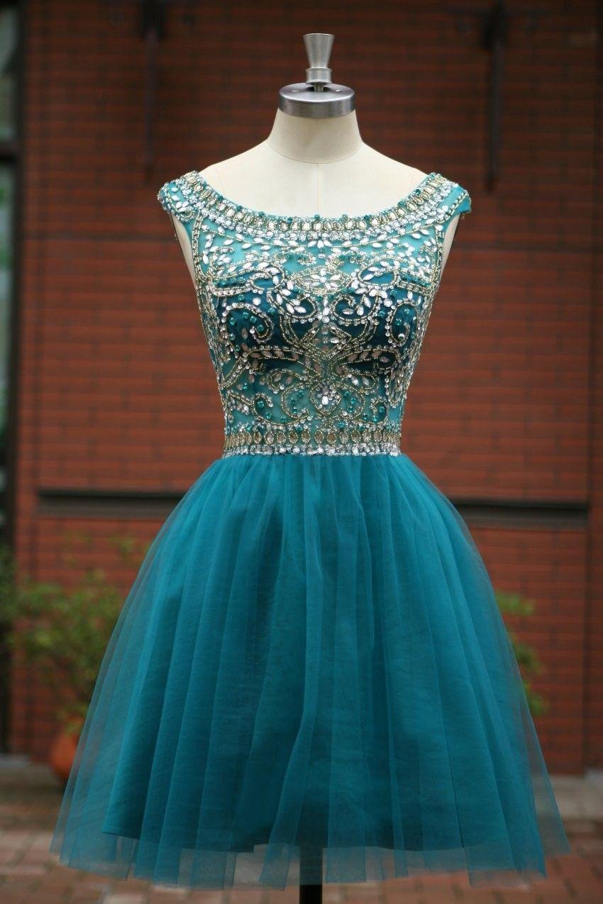c55570132f Elegant Sleeveless tulle Short Prom Dress