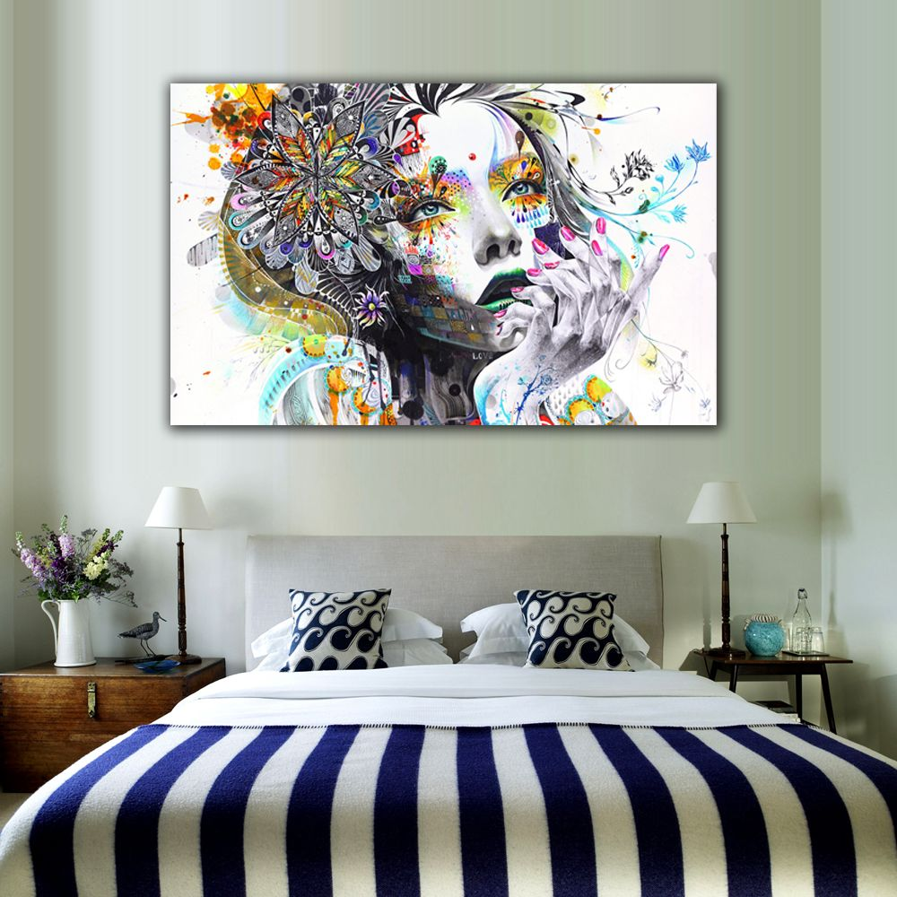 1 Piece Modern Wall Art With Flowers Unframed Canvas Painting For Home Bedroom