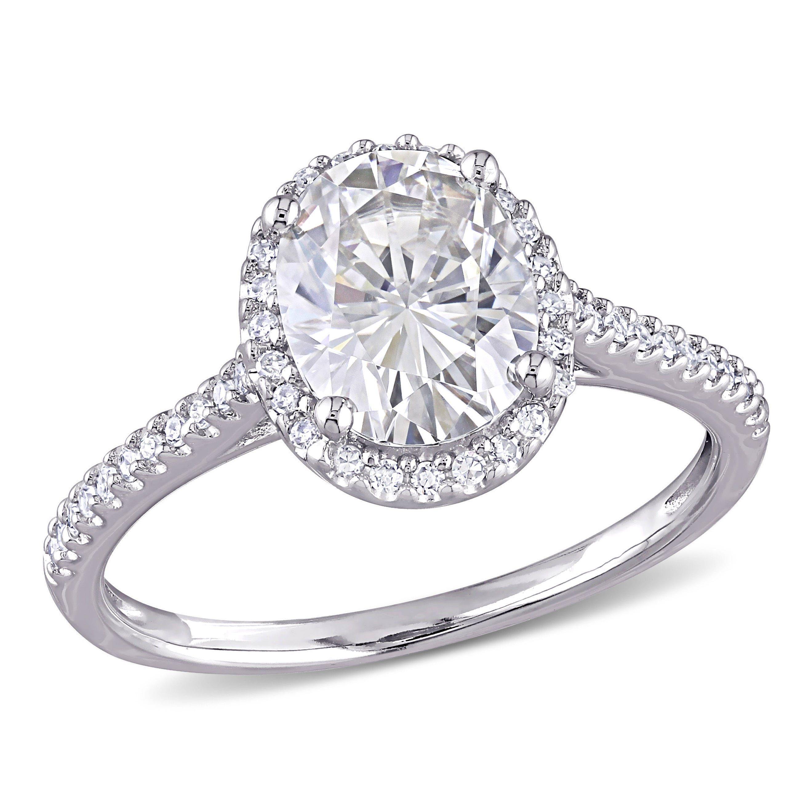 Moissanite and Diamond Engagement Ring in 14k White Gold