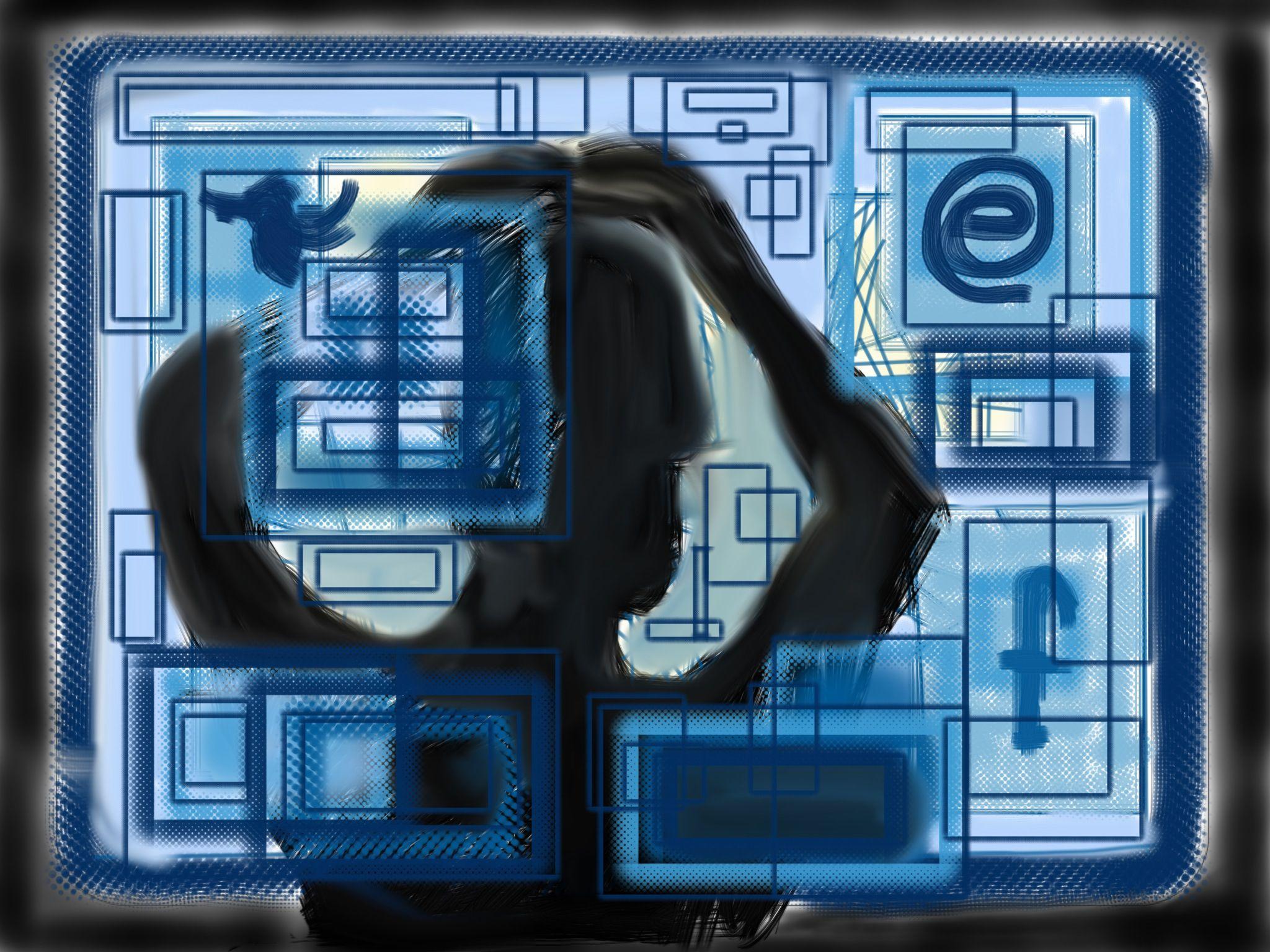 Cibercultura, ilustración digital. Ejercicio para la clase de medios interactivos.