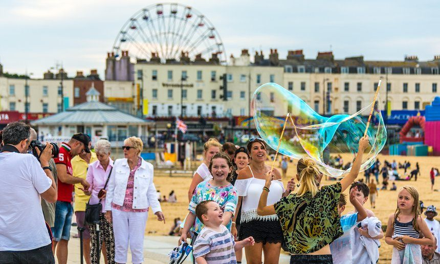 """Margate, Kent: Margate's golden sands have long attracted holidaying Londoners. Now that vintage pleasure park Dreamland has reopened right next to the beach, there is even more fun to be had. The kitsch, retro-themed park, with heritage rides such as 1930s caterpillars, 1940s carousels, 1970s chair-o-planes and the UK's oldest roller coaster, marks its first anniversary on 18 June by hosting Dreamland Sound Clash, billed as the """"Notting Hill Carnival, but with a Margate Twist""""."""