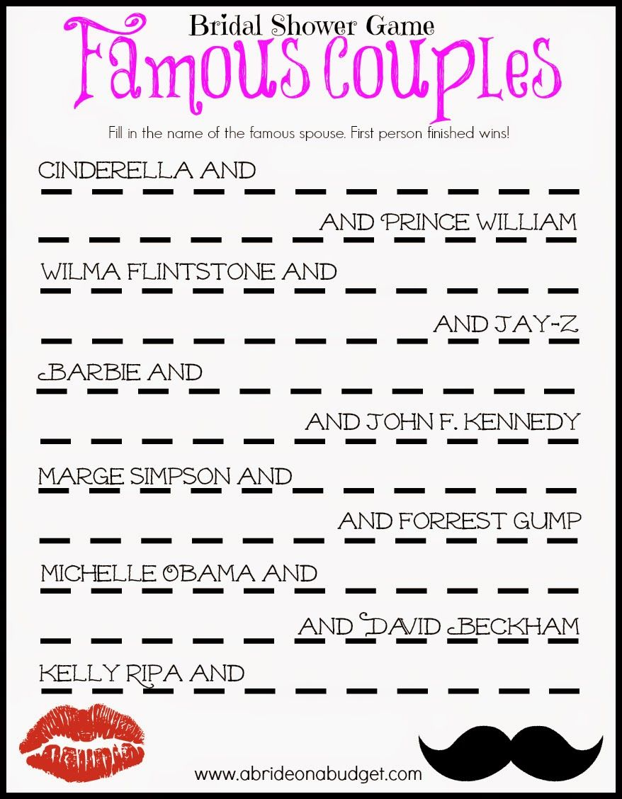 famous couples bridal shower game free printable