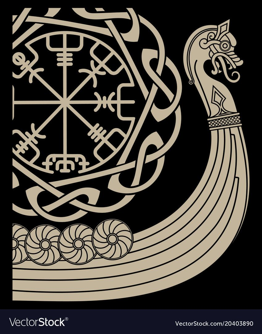 Warship Of The Vikings Drakkar Ancient Scandinavian Pattern And Norse Runes Isolated On Black Vector Illustration D Viking Pattern Viking Art Norse Tattoo