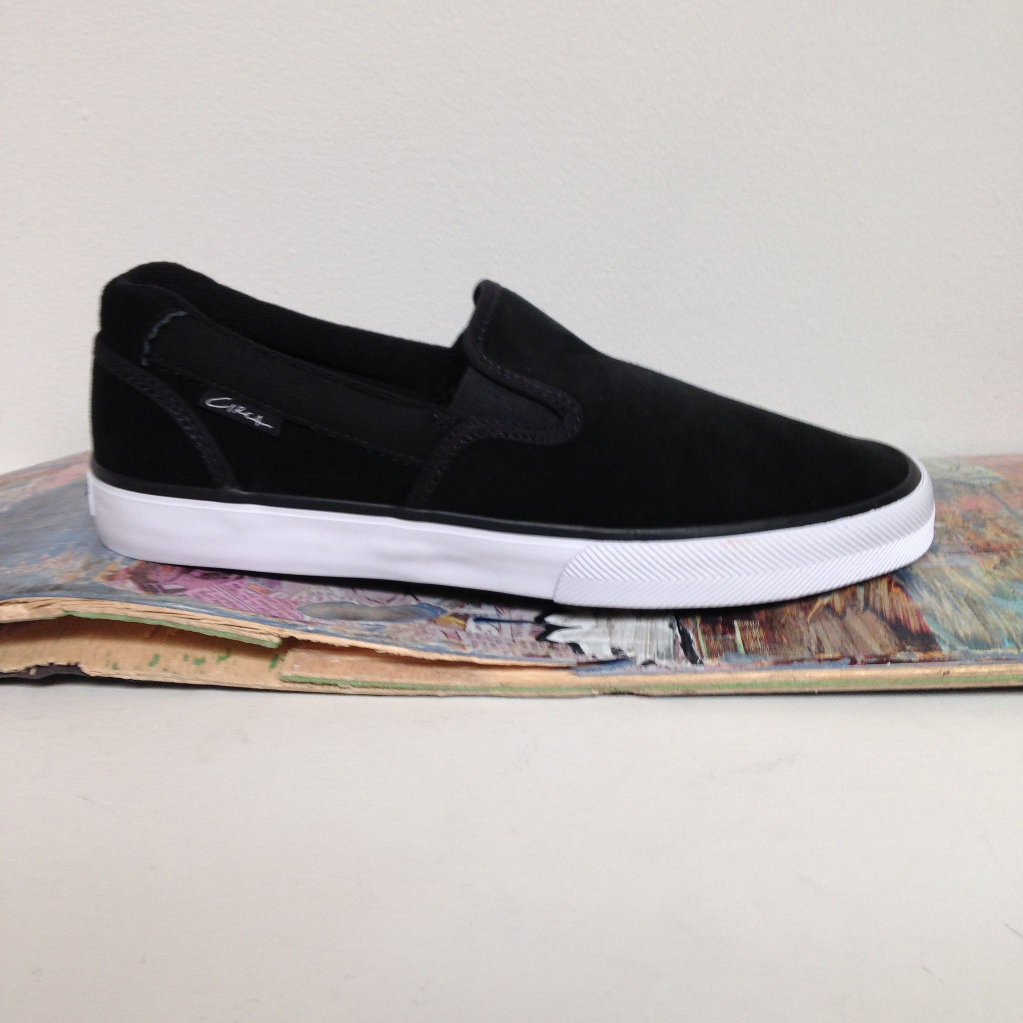 ce6f288f C1RCA Corpus slip-on Suede Black/ White Skate Shoe | skate shops and ...