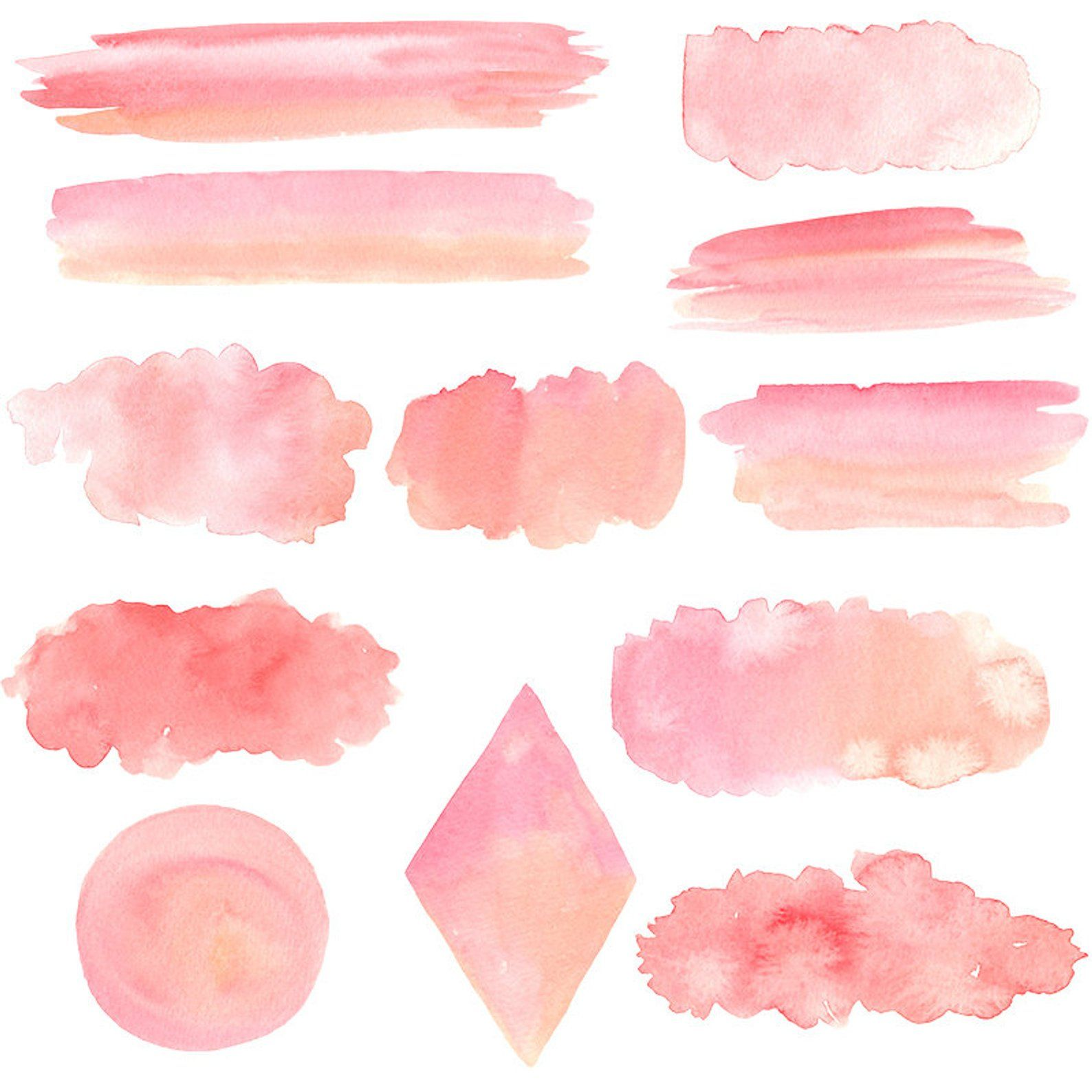 Blush Watercolor Splash Clipart Pink Ombre Background Wedding
