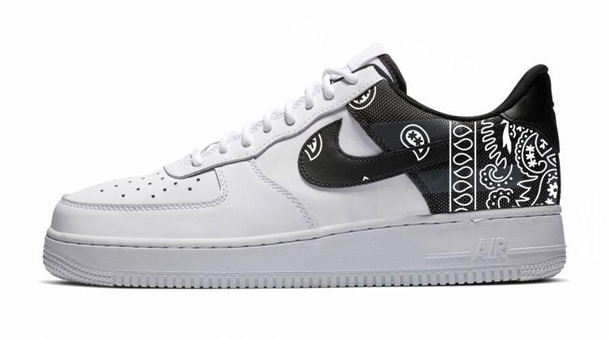 premium selection fb1bf b2b00 Bandana Fever White Bandana Print Custom White Black Nike Air Force Shoes