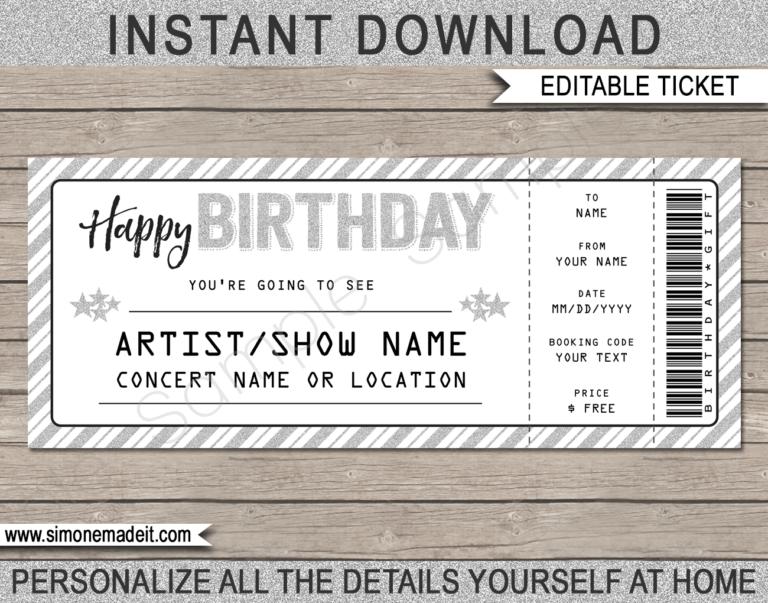 birthday printable concert ticket silver glitter white