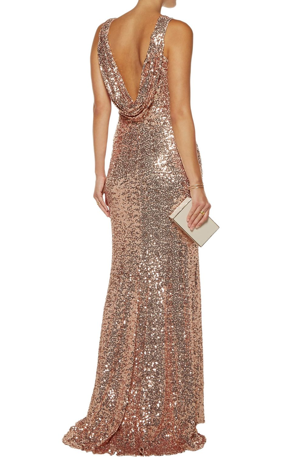 High Neck Sequin Rose Gold Formal Dress Simple Prom Gown with Slit ...
