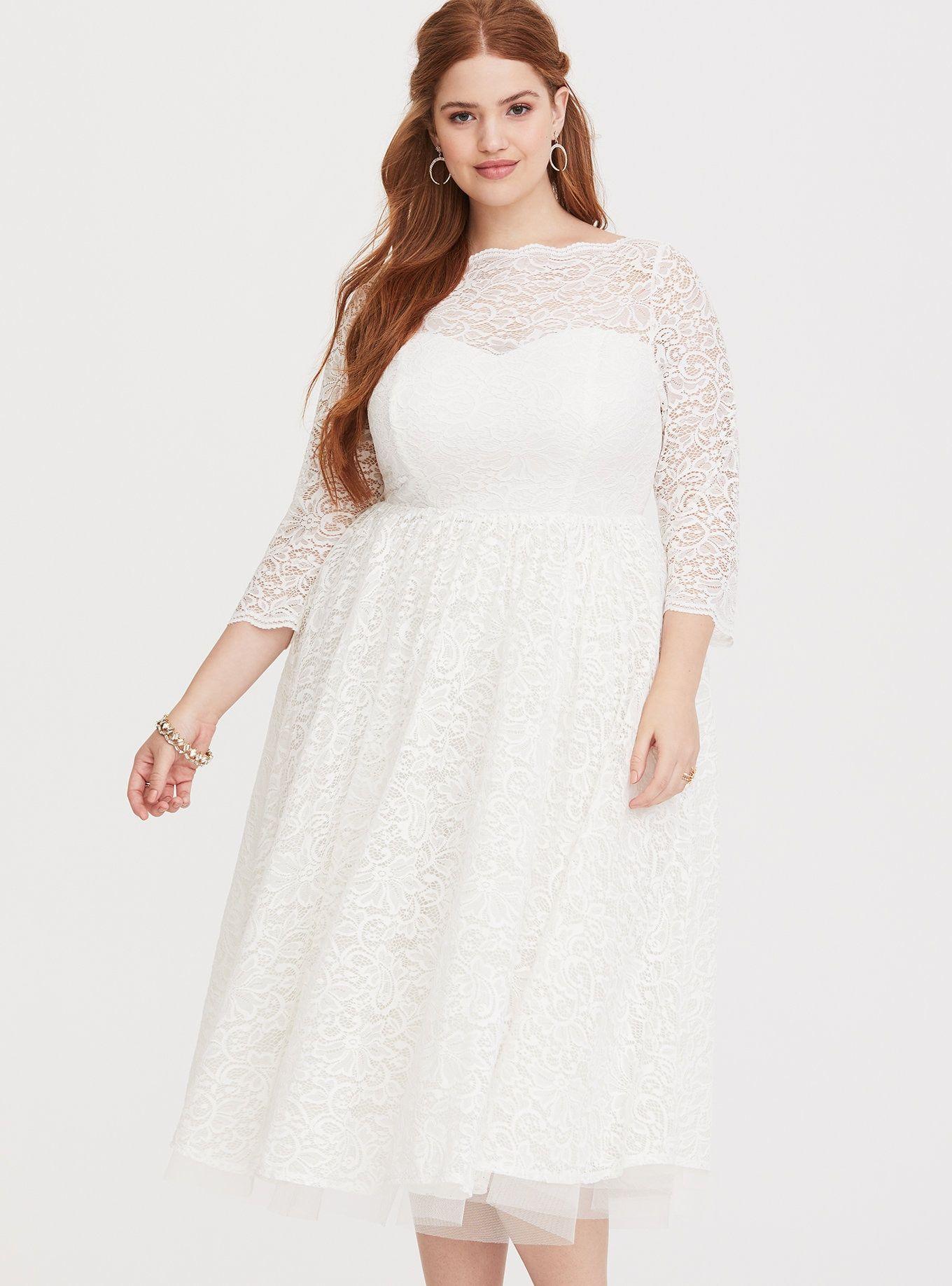 da9a768a4100 Plus Size Special Occasion White Lace Midi Dress, CLOUD DANCER, alternate