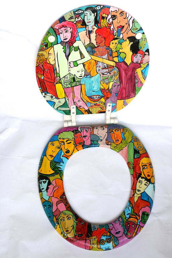 Toilet Seat Hand Painted One of a Kind por MadManWare en ...