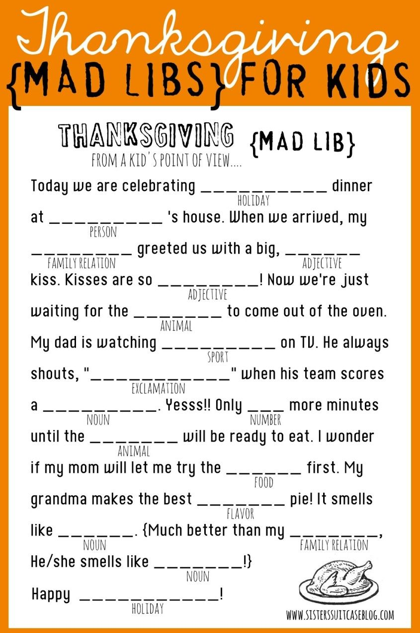 Thanksgiving Mad Libs Printable - My Sister's Suitcase - Packed with  Creativity   Thanksgiving mad lib [ 1273 x 845 Pixel ]