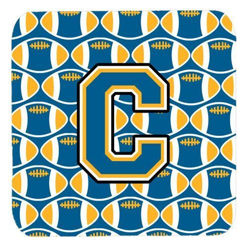 Letter C Football Blue and Gold Foam Coaster Set of 4 CJ1077-CFC