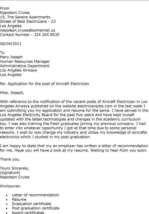 Cover Letter Sample For Electrician Written Electrical Engineer