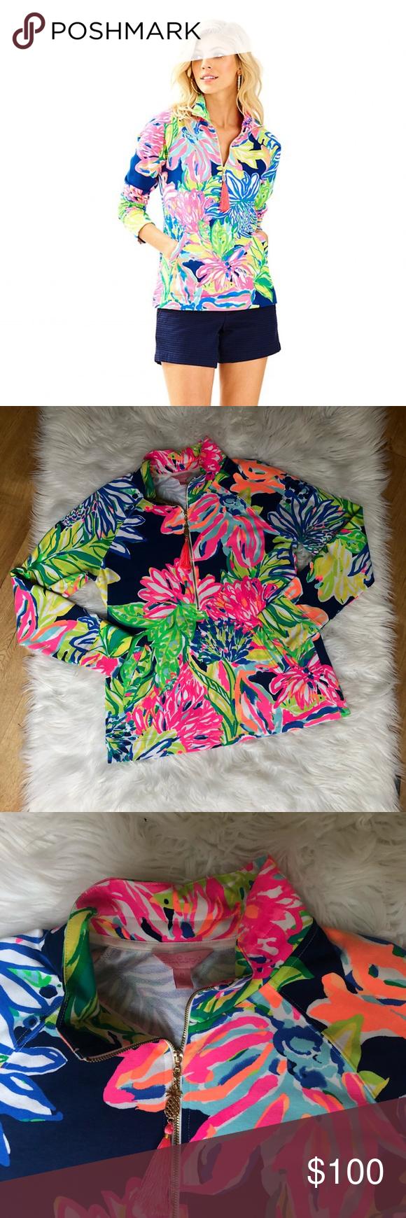 6ba09e908fd309 NWOT Lilly Pulitzer Travelers Palm popover This NWOT Lilly Pulitzer popover  is the pattern Travelers Palm and in perfect condition.