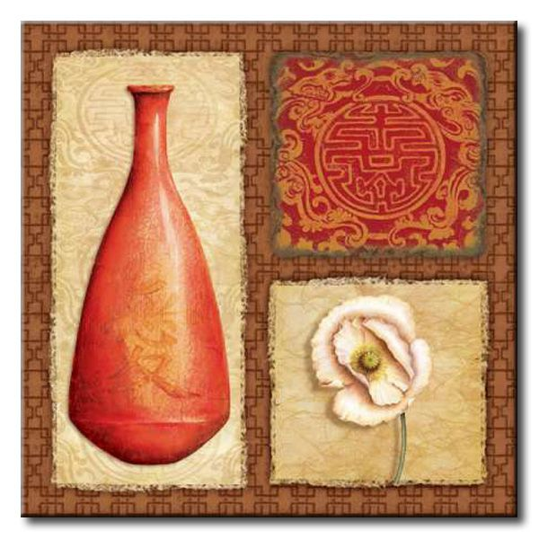 CBN_019_Asian Red IV / Cuadro Flores, Collage Oriental