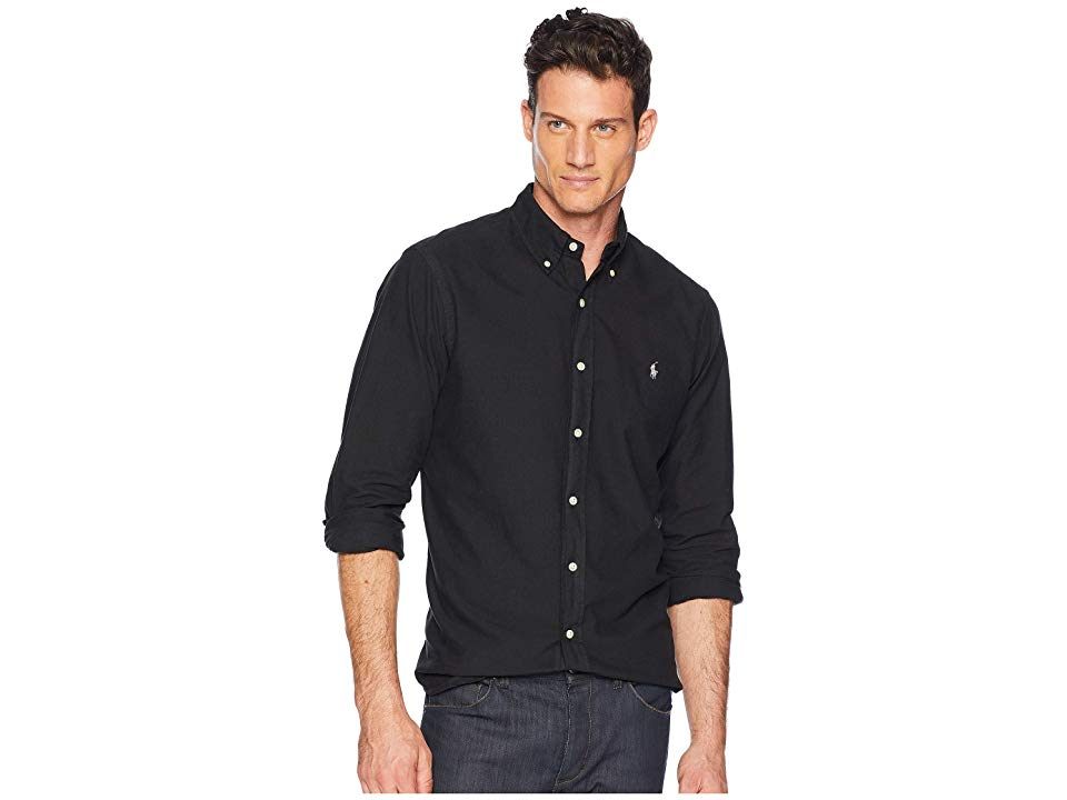 9f9077a697 Polo Ralph Lauren Long Sleeve Solid Garment Dyed Oxford Classic Fit Sport  Shirt (Polo Black