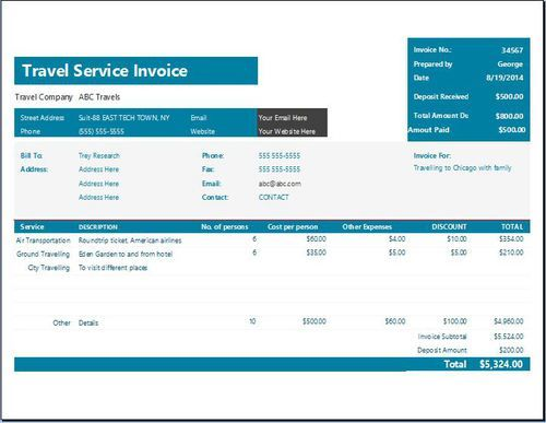 A Travel Service Invoice Template Is A Great Document For