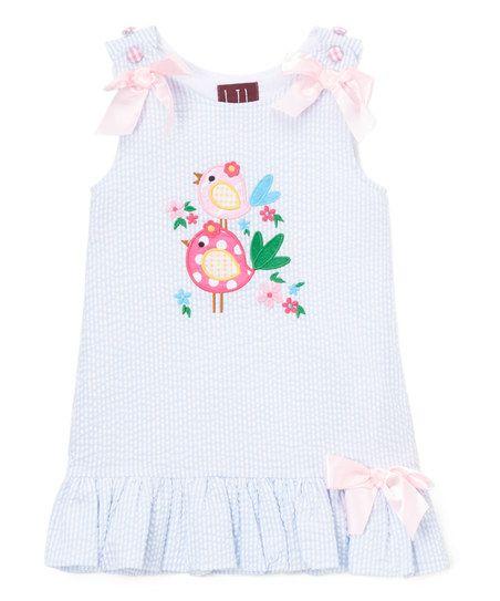 3cbd0653393a4 Lil Cactus Blue Bird Seersucker Ruffle Dress - Infant, Toddler & Girls |  zulily