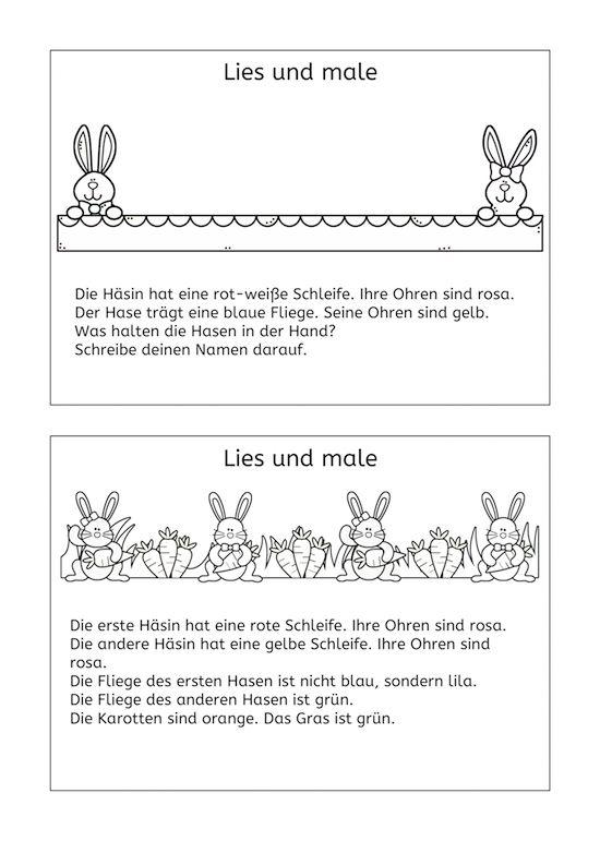 Vier kurze Lesemaltexte zum Thema Frühling und Ostern. So wird das ...