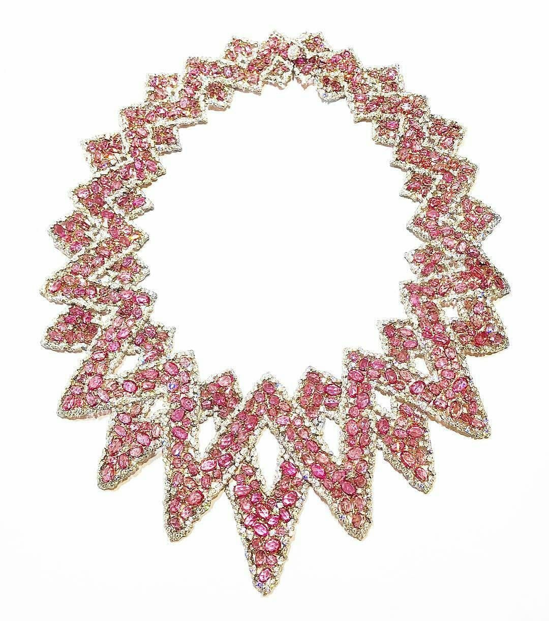 White diamond u pink sapphire necklace from the mesh collection by