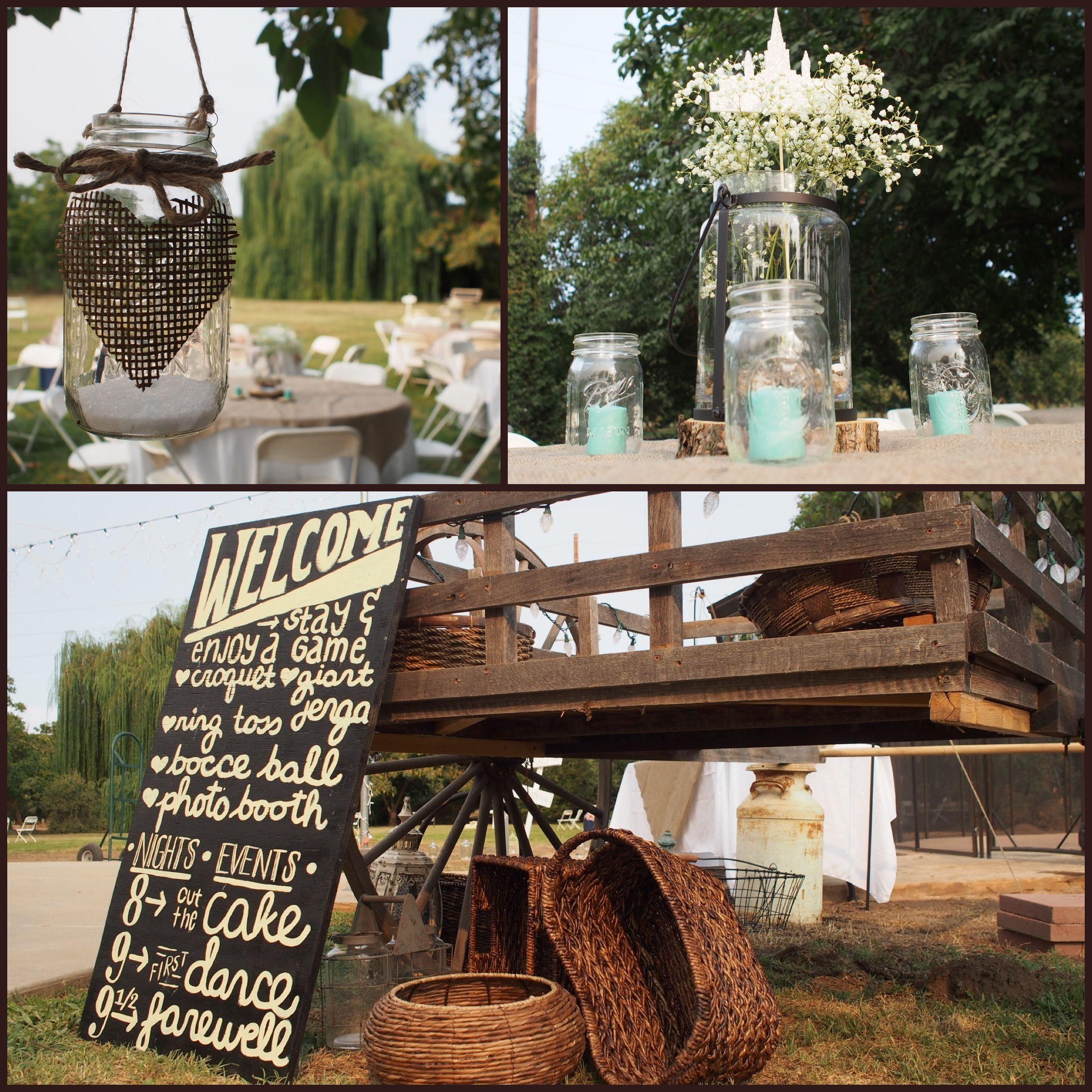 Country/rustic/antique wedding. Mason jars. Wedding