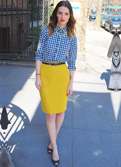 0d03b417e8 This outfit gave me the idea to wear my blue & white gingham shirt, mustard  yellow pencil skirt, black patent skinny belt, black patent heels, ...
