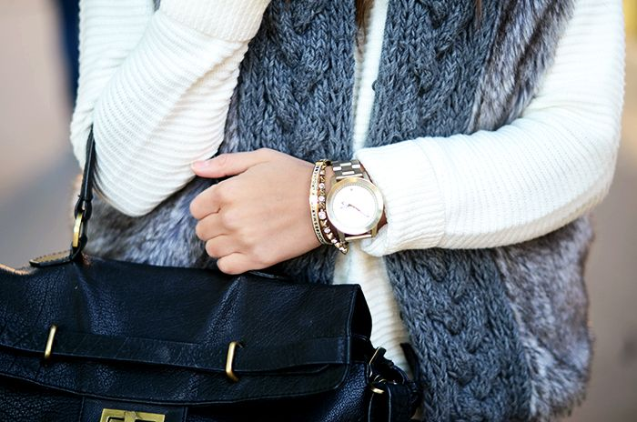 faux fur and cable knot
