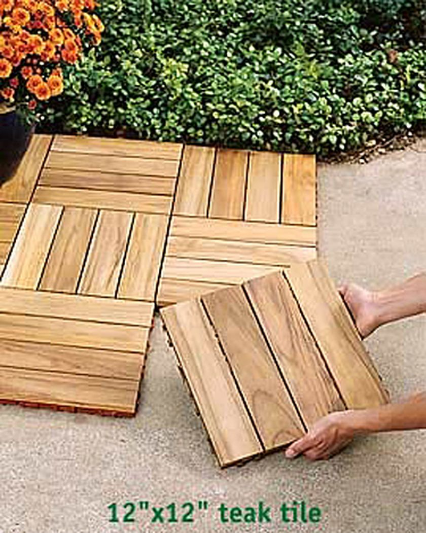 Patio Deck Tiles Recycled Rubber: Teak Deck Tiles --- For The Outdoor Shower