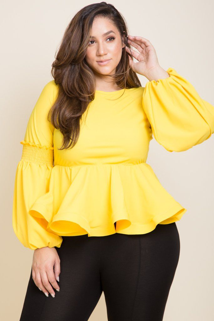 fc12cdebb Plus Size Ruffle Bottom Slight Puffy Long Sleeve Model is 6 0 wearing 3X  (Yellow