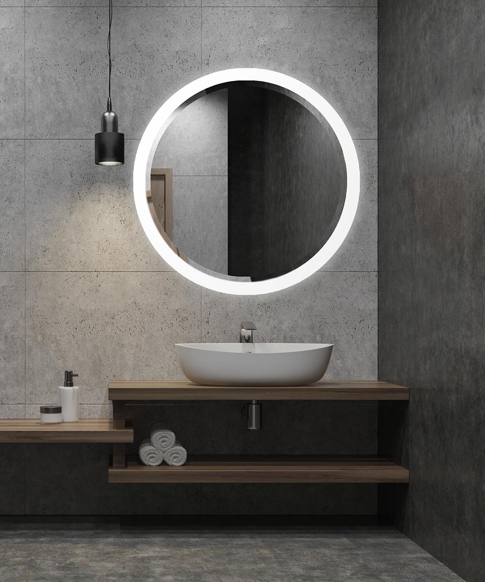 Crown Led Round Lighted Mirror Bevel Collection Electric Mirror Bathroom Mirror Design Round Mirror Bathroom Bathroom Mirror Lights [ 1200 x 1000 Pixel ]