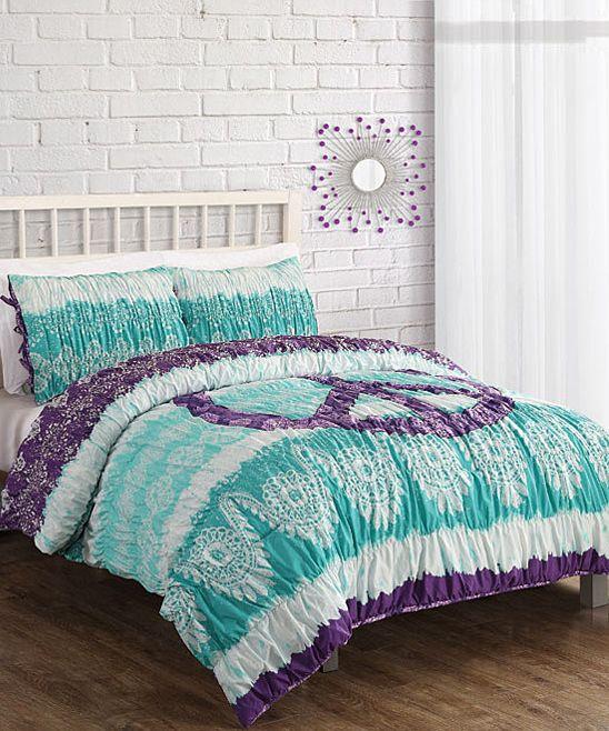 Aqua Textured Peace Sign Comforter Set Bedroom Comforter Sets