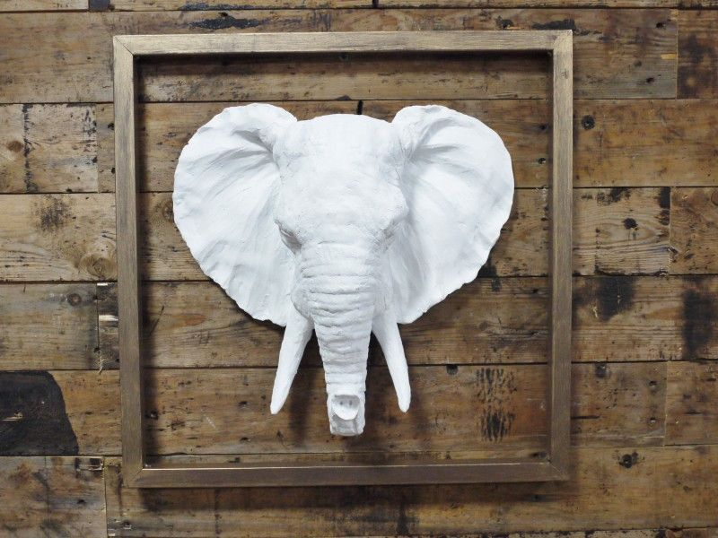 Wall Mounted Decorative Elephant Head White Resin